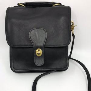 COACH Black Flat Leather Crossbody Bag